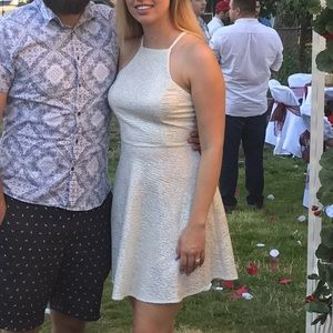 White glitter halter dress